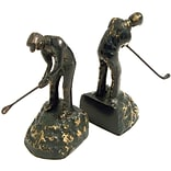 Bey-Berk R19G Man Golfer Bookends, Brass, Patina Finished