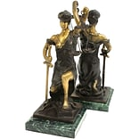 Bey-Berk R19J Kneeling Lady Justice Bookends, Brass and Green Marble Base, Multi-Colored Bronze