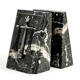 Bey-Berk R19L Fancy Beveled Legal Scale Bookends, Black Zebra Marble, Silver and Mirror Finish