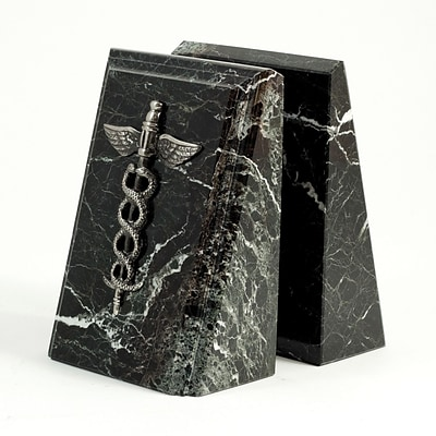 Bey-Berk R19M Fancy Beveled Medical Caduceus Bookends, Black Zebra Marble, Silver and Mirror Finish