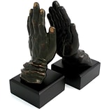 Bey-Berk R19P Hands Bookends, Solid Brass and Wood, Bronzed