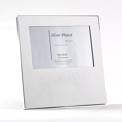 Bey-Berk SF100-07 Silver Plated Picture Frame, 4 x 6