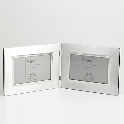 Bey-Berk SF177-09 Brushed Metal Double Picture Frame, 4 x 6