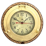 Bey-Berk SQ501 Brass/Solid Wood Porthole Clock With Rope