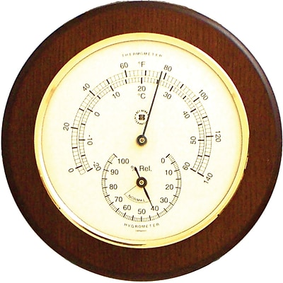 Bey-Berk WS073 Brass and Cherry Wood Thermometer/Hygrometer
