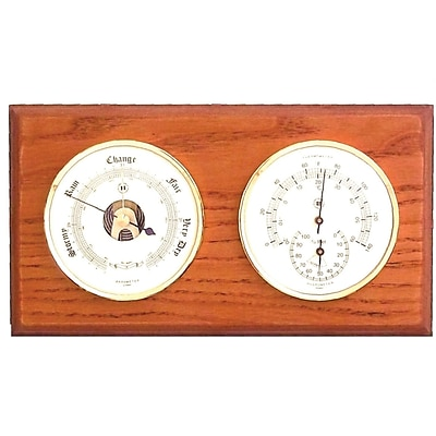 Bey-Berk WS111 Brass and Oak Barometer/Thermometer/Hygrometer