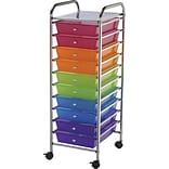 Blue Hills Studio Storage Cart W/10 Drawers, Multi Color, 13 x 38 x 15.5