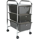 Advantus® Cropper Hopper Home Center Rolling Cart, 3 Drawer, Smoke