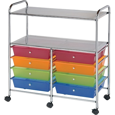 Blue Hills Studio Double Storage Cart W/8 Drawers, Multi, 31.74 x 35 x 14.75