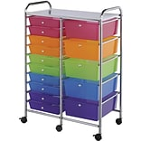 Blue Hills Studio Multi Color Double Storage Cart, W/15 Drawers