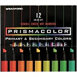 Sanford Prismacolor Double Ended Art Markers, Primary & Secondary Colors,  12/Pk