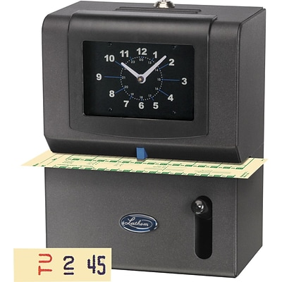 Lathem® 2121 Manual Time Clock (Day of Week, 1-12 Hours, Minutes Format)