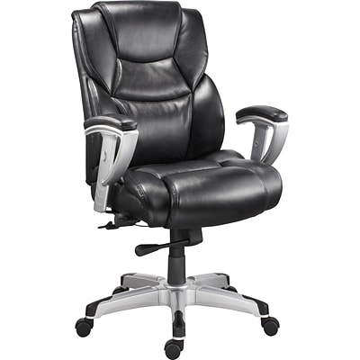Quill Brand® Denville Bonded Leather Big and Tall Managers Chair, Black