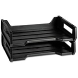 National Industries Stackable Desk Trays, 2 Trays, Letter, Black, 12 x 8 1/2 x 5 (7520010944307)