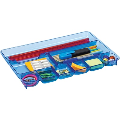 Officemate® Blue Glacier Desk Drawer Organizer, 9-Compartment Drawer Tray