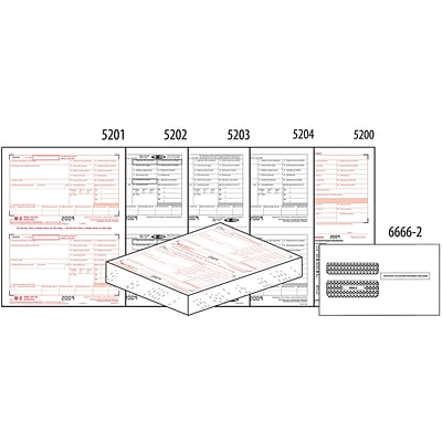 W-2 Pre-Packaged Laser Sets, 4 part, 50 Pack, with Envelopes
