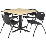 42 Sq Table Set w/4 Chairs; Beige/Black