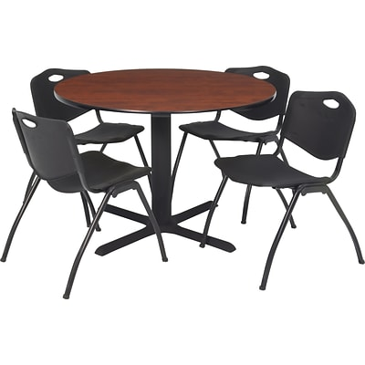 Regency® 42 Round Table Set with 4 Chairs, Cherry/Black