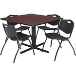 36 Sq Table Set w/4 Chairs; Mahogany/Black