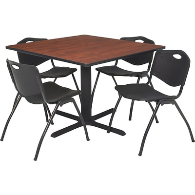 Regency® 36 Square Table Set with 4 Chairs, Cherry/Black