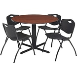 36 Rnd Table Set w/4 Chairs; Cherry/Black