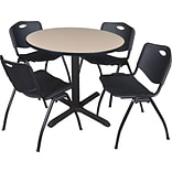 36 Rnd Table Set w/4 Chairs; Beige/Black