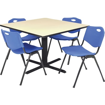 Regency® 36 Square Table Set with 4 Chairs, Beige/Blue