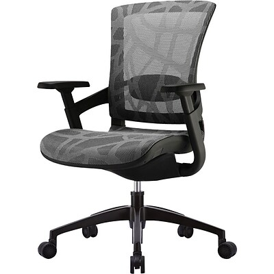 Skate Ergonomic Mesh Chair; Adjustable Arms, Silver Gray