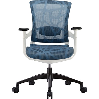 Skate Mesh Ergonomic Mid-Back Chair; Adjustable Arms, Blue
