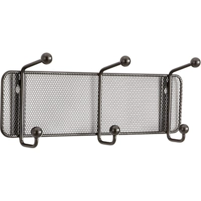 Safco® Onyx™ Mesh Wall Rack, 3 Hook, Black, 5 1/2H x 14 3/4W x 3D