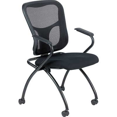 Raynor Eurotech Fabric Seat Flip Nesting Chair, with Arm, Black, 2/Carton