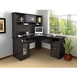 Bush Furniture Cabot L-Desk with Hutch, Espresso Oak