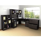Bush Furniture Cabot L-Desk with Hutch, 6 Cube Bookcase and Lateral File, Espresso Oak