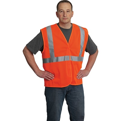 Protective Industrial Products Safety Vests, ANSI Class 2 Orange Mesh, Large