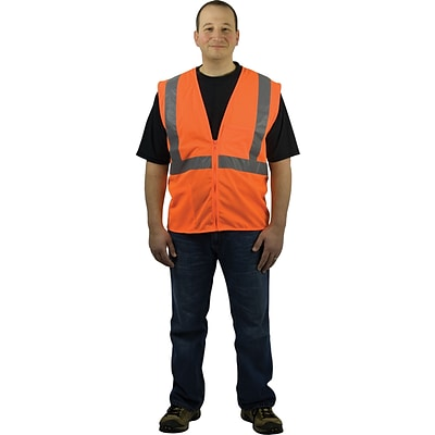 Protective Industrial Products Safety Vests, ANSI Class 2, Zipper Orange Mesh, Large