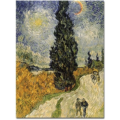 Trademark Global Vincent Van Gogh Road with Cypresses 1890 Canvas Art, 36 x 48