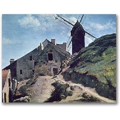 Trademark Global Jean Baptiste Corot A Windmill at Montmre Canvas Art, 35 x 47