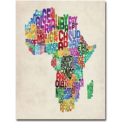 Trademark Global Michael Tompsett Africa Text Map Canvas Art, 47 x 35