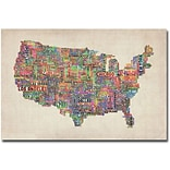 Trademark Global Michael Tompsett US Cities Text Map VI Canvas Art, 30 x 47