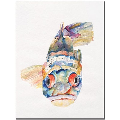Trademark Global Pat Saunders White Blue Fish Canvas Art, 24 x 18