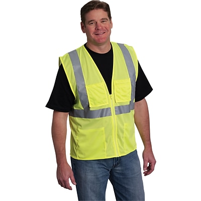 Protective Industrial Products Safety Vests, ANSI Class 2, Yellow Mesh, XL