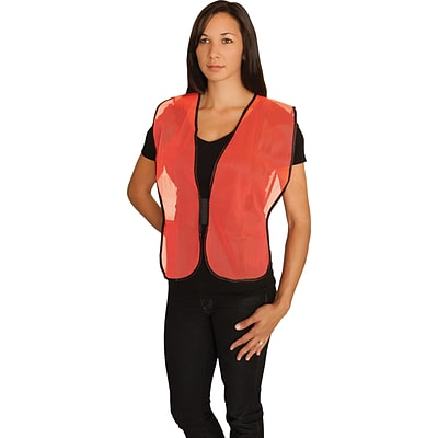 Protective Industrial Products Safety Vests,  Non-ANSI, Orange Mesh, One Size
