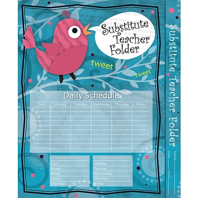 Carson-Dellosa Substitute Teacher Folder, Song Bird Folder