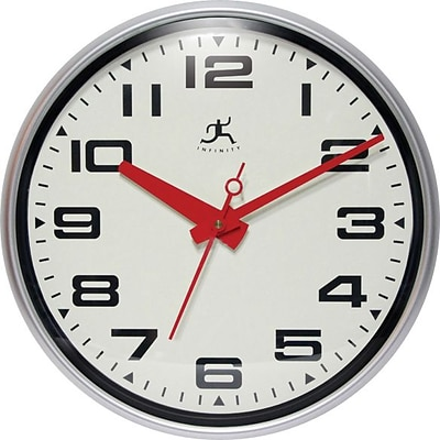 Infinity Instruments® Lexington Ave Wall Clock, 15, Silver w/ Red Hands
