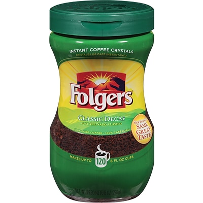Folgers® Classic Roast® Decaf Instant Coffee Crystals, Medium Roast, Decaffeinated, 8 oz. Jar (2550080018)