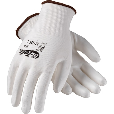 G-Tek® Coated Work Gloves, NP Seamless Nylon Knit With Polyurethane Coating, Medium, White, 12/Pr