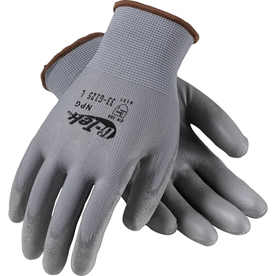 G-Tek® NPG Seamless Knit Work Gloves, Nylon With Polyurethane Coating, Small, Gray, 12 Pairs