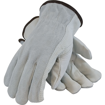 PIP Drivers Gloves, Regular Grade, Top Grain Cowhide, Medium, Gray, 1/Pr