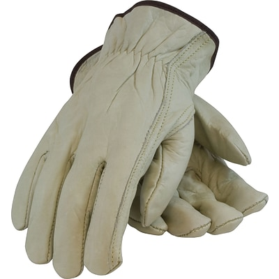 PIP Drivers Gloves, Economy Grade, Top Grain Cowhide, X-Large, Tan, 1/Pr