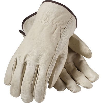 PIP Drivers Gloves, Top Grain Pigskin, XL, Cream Color, 1/Pr